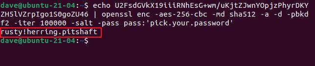 Decrypted password written to the terminal window