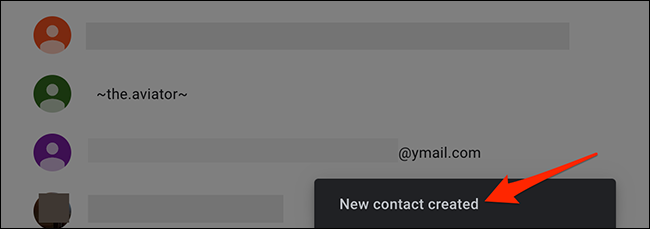"""A """"New Contact Created"""" message on Google Contacts."""