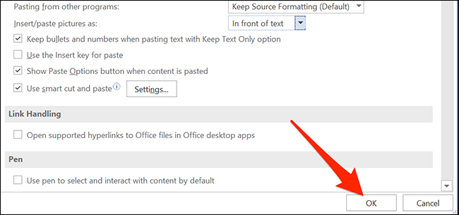 """Click """"OK"""" on Word's """"Word Options"""" window to save settings."""