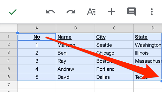 Select a table in a spreadsheet in the Google Sheets app.