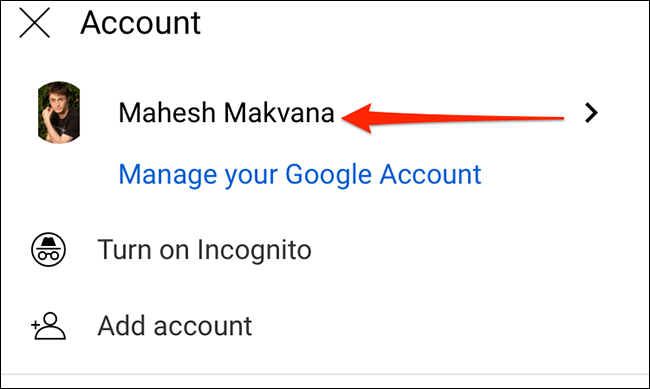 """Select the Google account on YouTube's """"Account"""" screen."""