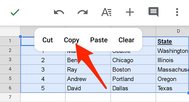 "Select ""Copy"" in Google Sheets' context menu."