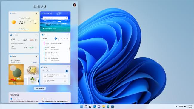 Widgets on a Windows 11 desktop.