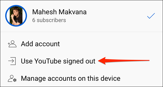 """Tap """"Use YouTube Signed Out"""" on the """"Accounts"""" screen in the YouTube app."""