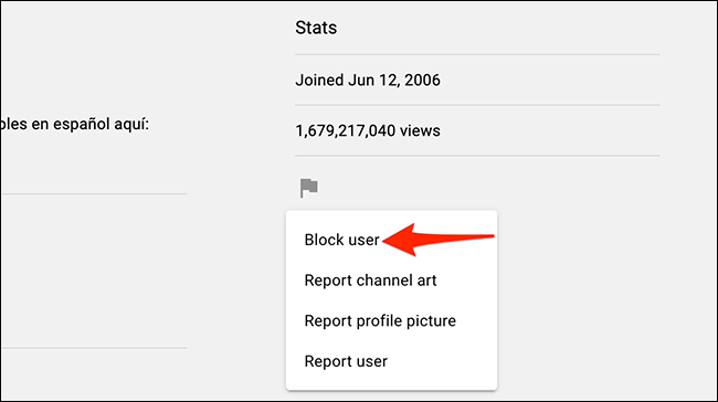 """Choose """"Block User"""" from the flag menu on YouTube."""