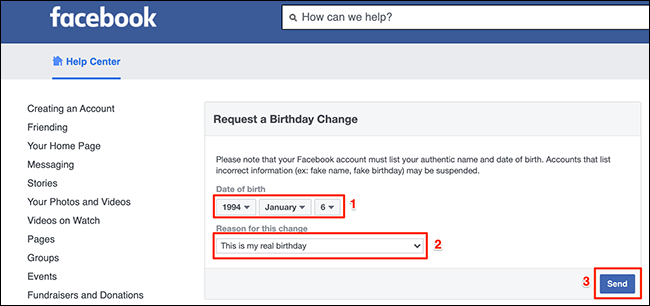 """Facebook's """"Request a Birthday Change"""" web page."""