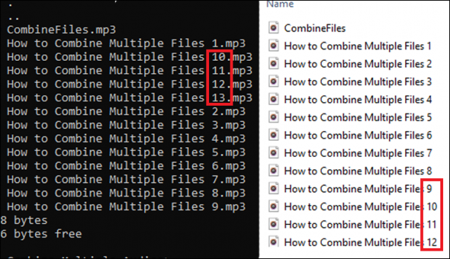 Command Prompt and File Explorer file name ordering differences.