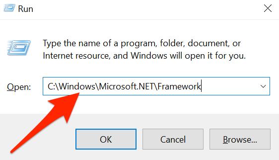 "Open the ""Framework"" folder using Run on Windows 10."