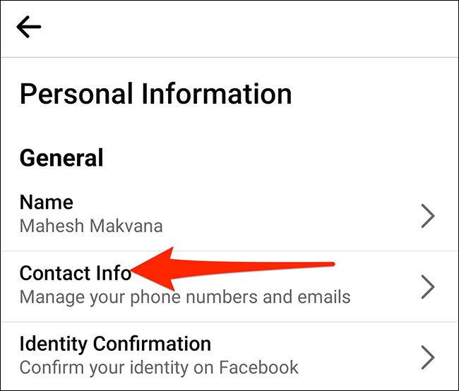 """Select """"Contact Info"""" on the """"Personal Information"""" screen in Facebook."""