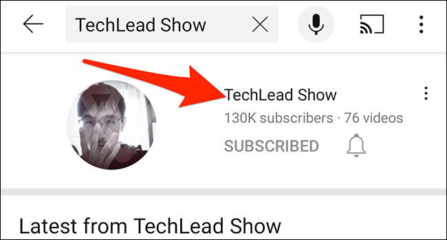 Select a channel in the YouTube app.