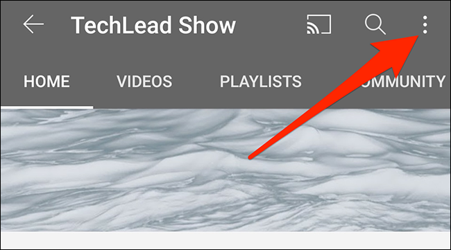 Tap the three dots at the top-right corner of a channel screen in the YouTube app.