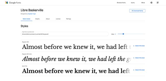 Page de polices baskerville gratuite sur Google Fonts