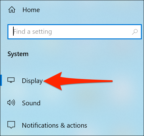 """Select """"Display"""" in the """"System"""" menu of the Settings app."""