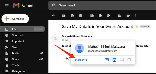 """Select """"More Info"""" in an email sender's card on Gmail."""