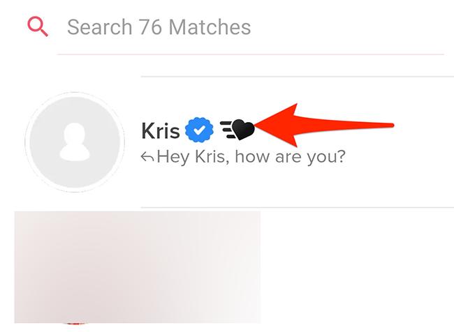 В Tinder выберите пользователя, с которым хотите отказаться.