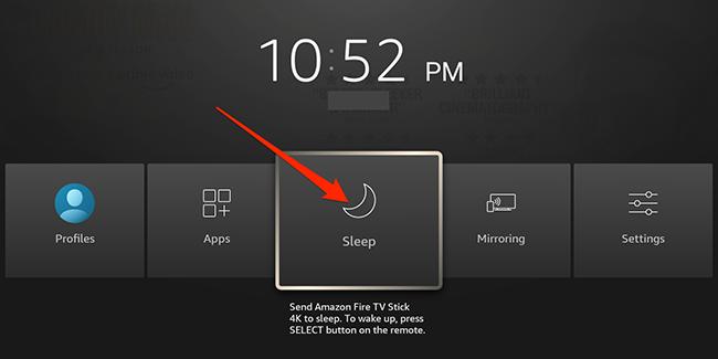 """Выделите """"Спать"""" опция в интерфейсе Fire TV."""