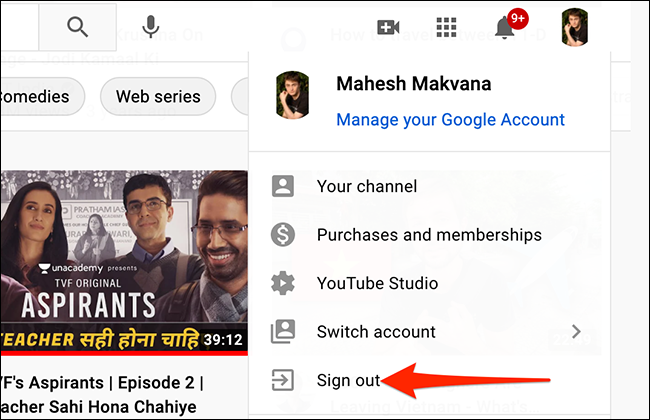 """Select """"Sign Out"""" from YouTube's profile menu."""