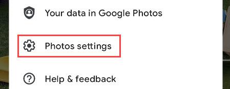 "Select ""Photos Settings."""