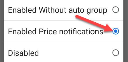 """Выбирать """"Включены уведомления о ценах."""""""