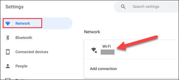 """Go to the """"Network"""" section and click """"Wi-Fi."""""""