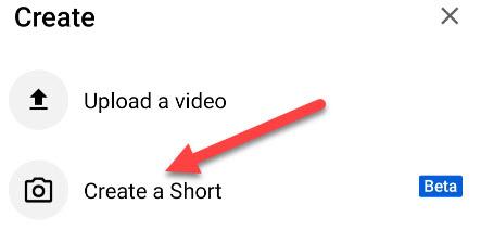 """Tap """"Create a Short."""""""