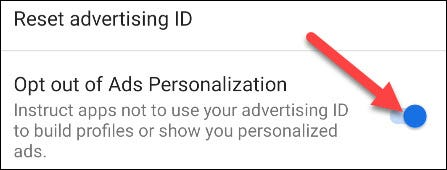 """Now toggle the switch on for """"Opt Out of Ads Personalization."""""""