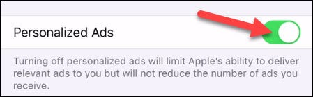 """Simply toggle off the switch for """"Personalized Ads."""""""