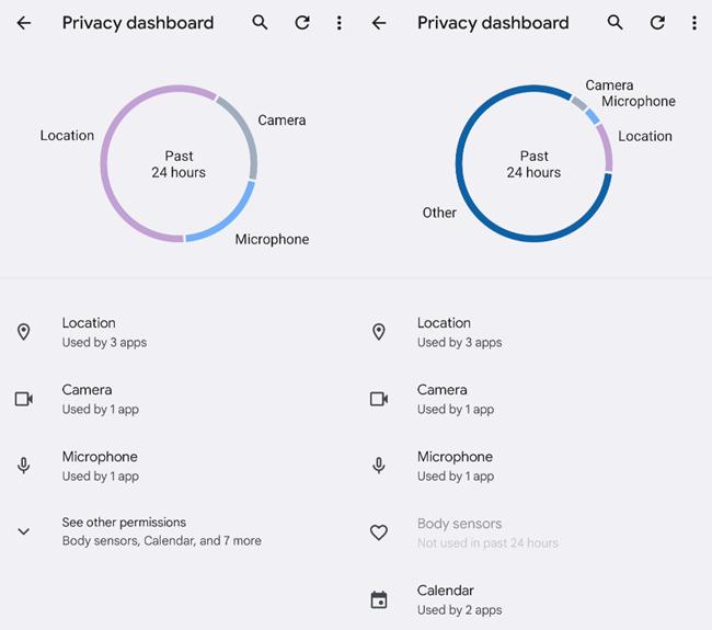 Privacy Dashboard chart.