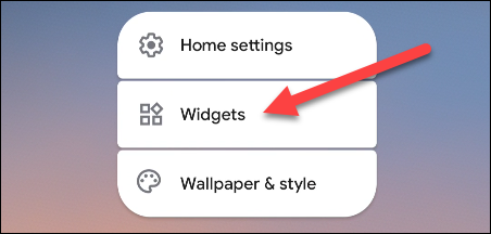 Select widgets from the menu.
