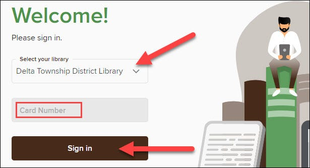 """Click """"Sign In"""" and enter your library card number."""