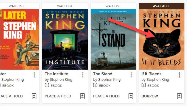 """Find a book that is labeled as """"Available"""" and select it."""