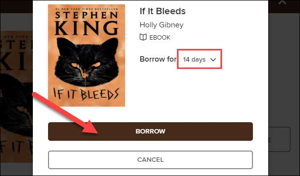 """Choose how long you want to borrow the book. Then click """"Borrow."""""""