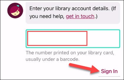 Entering your library card.