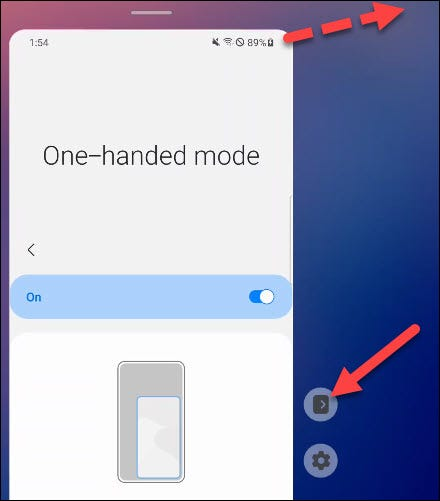 One Handed Mode options.