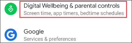 """Scroll down and select """"Digital Wellbeing & Parental Controls."""""""