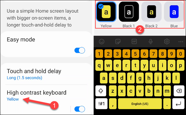 """Turn the """"High Contrast Keyboard"""" theme on or off."""
