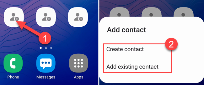 """Tap one of the empty shortcuts to select a contact, then select """"Create Contact"""" or """"Add Existing Contact."""""""