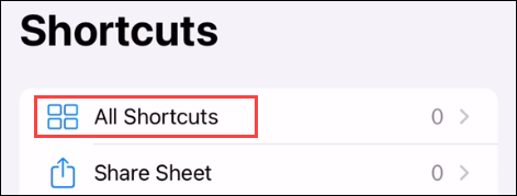 """Go to """"All Shortcuts"""" if you're not taken there right away."""
