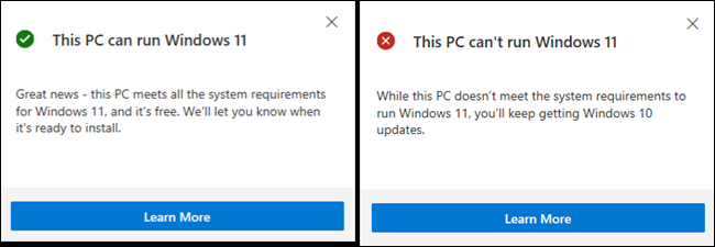 Info about running Windows 11 on your PC.