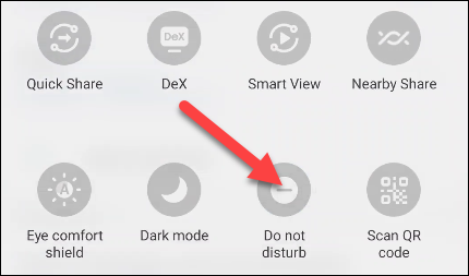 """Swipe down from the top of the screen twice and find the """"Do Not Disturb"""" toggle."""