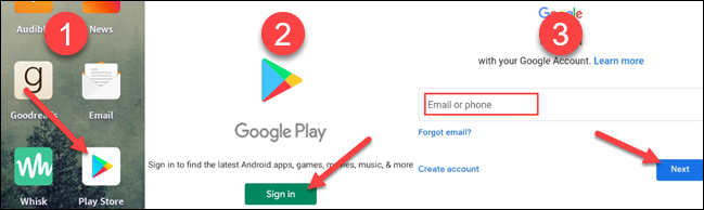 Open the Play Store and sign in.