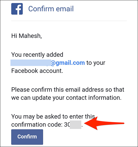 Copy the unique code from Facebook's confirmation email.