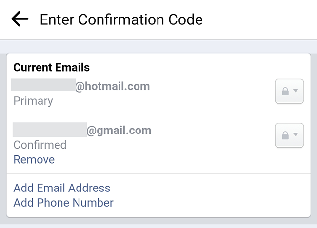 Email addresses associated with a Facebook account.
