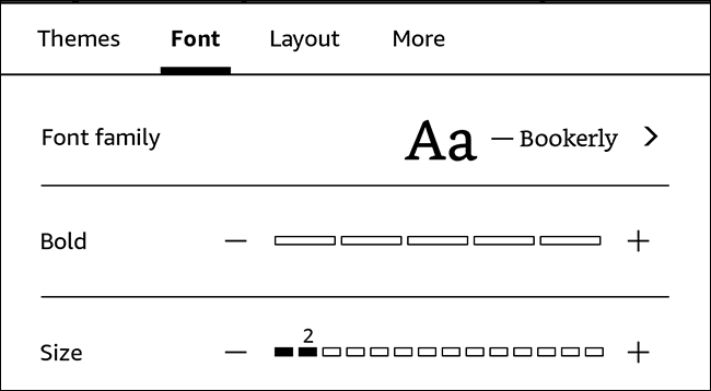 Viewing a kindle's font options