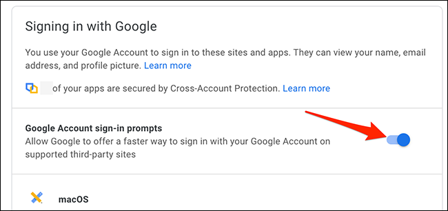 """Turn off the """"Google Account Sign-In Prompts"""" option on Google My Account site."""