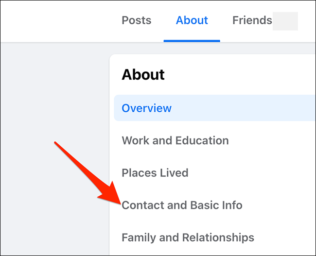 """Select """"Contact and Basic Info"""" from the Facebook profile's """"About"""" tab."""