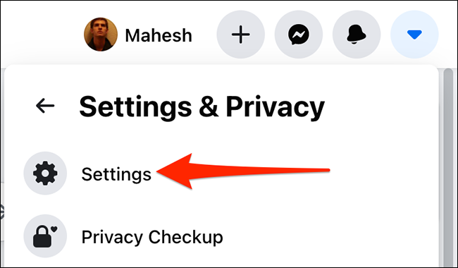 """Select """"Settings"""" from the """"Settings & Privacy"""" menu on Facebook."""