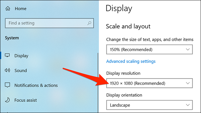 """""""Display resolution"""" highlighted in the Settings app."""