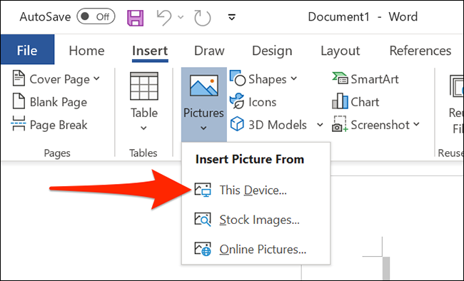 Click Pictures > This Device in Word.
