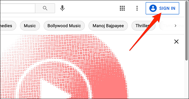 A signed out interface of YouTube.